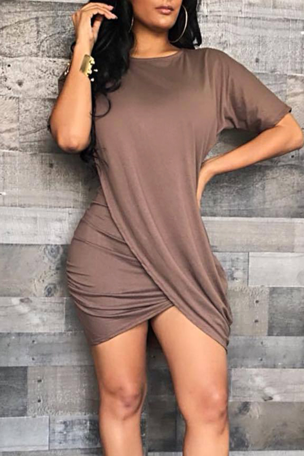 Lovely Casual Asymmetrical Coffee Mini Dress