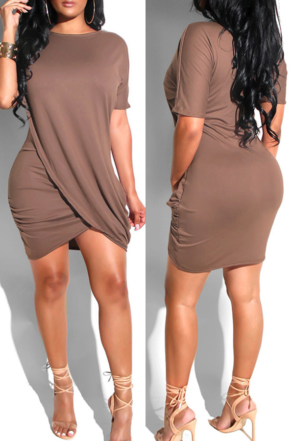Lovely Casual Asymmetrical Coffee Qmilch Mini Dress
