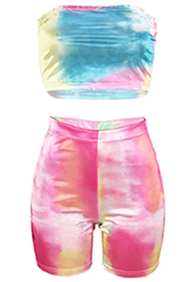 Precioso Conjunto De Pantalones Cortos De Dos Piezas De Mezcla Multicolores Del Hombro De Rocío Euramerican