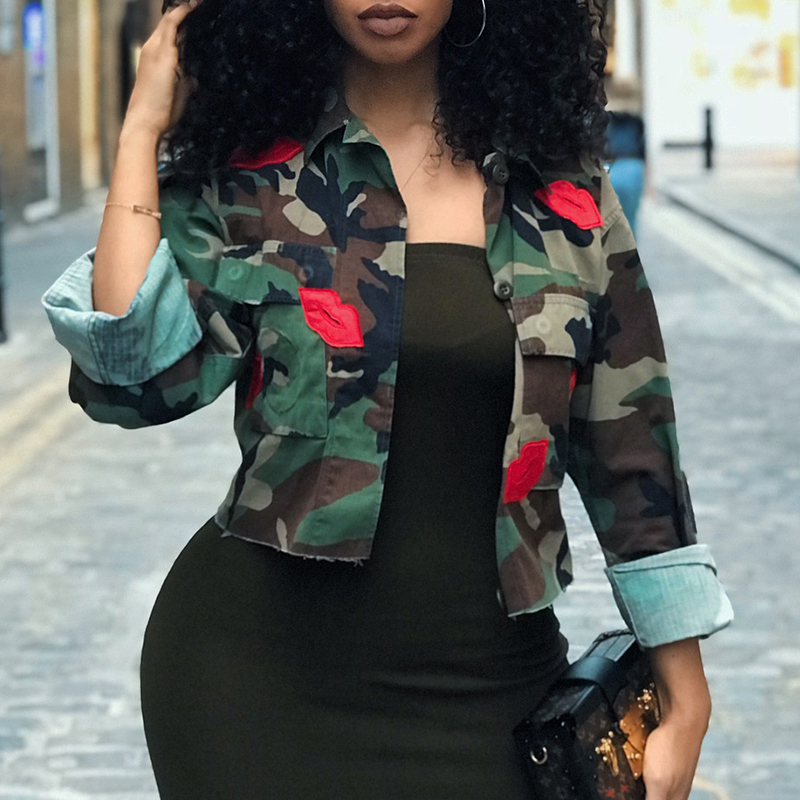 Lovely Casual Camouflage Printed Short Green Coat