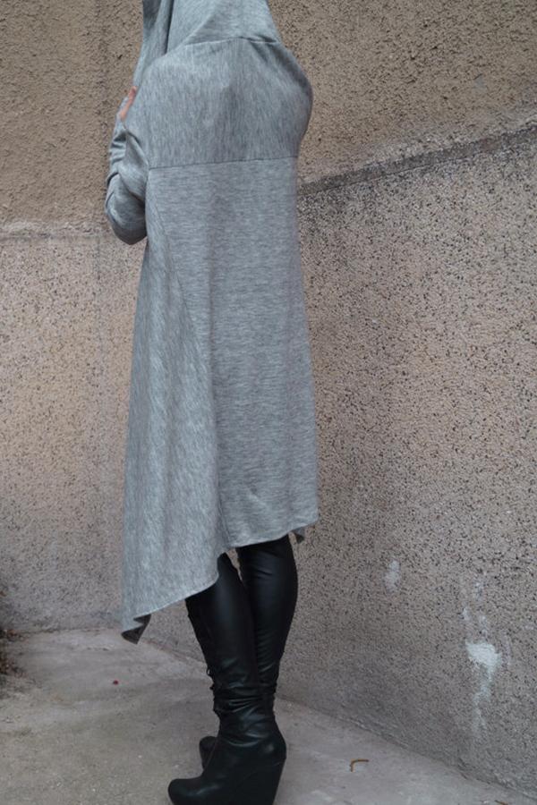 Lovely  Casual Asymmetrical Drawstring Long Light Grey Cotton Hoodies