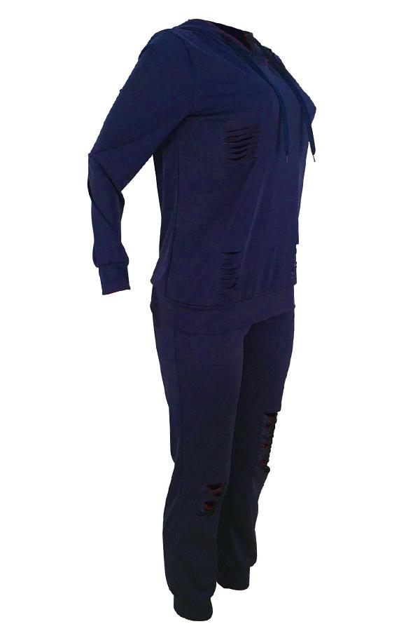 Lovely Euramerican Broken Holes Deep Blue Blending Two-piece Pants Set