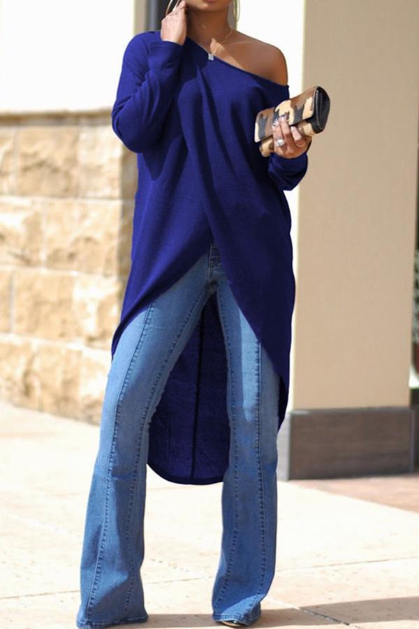 Lovely Trendy Asymmetrical  Sloping Shoulder   Blue  Blouses