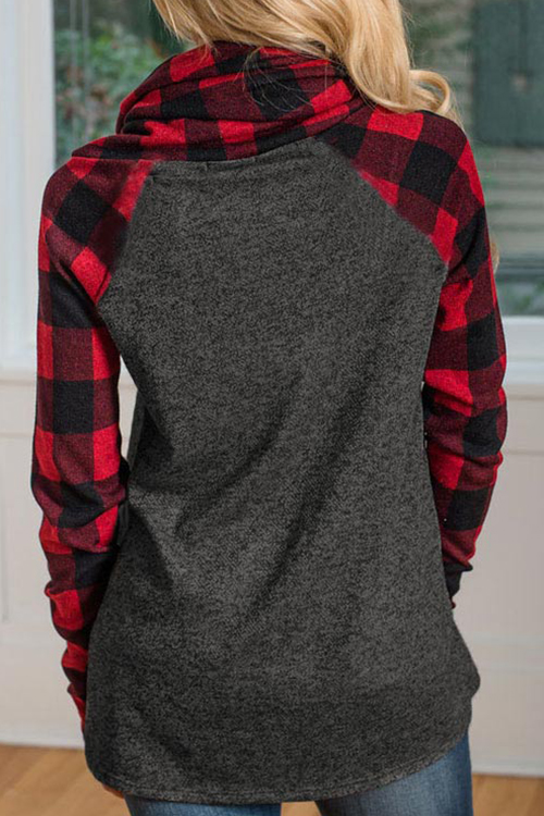 Lovely Fashion Heaps Collar Patchwork Red Cotton Blends Hoodies