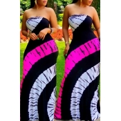 Lovely Casual Maxi Gradual Change Black Floor Leng