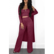 Lovely Casual U Neck Wine Red Two-piece Pants Set (With Coat)