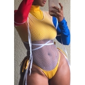 Lovely Sexy Patchwork Hollowed-out Yellow Knitting