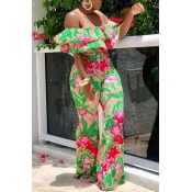 3b109532badf Lovely Fashion Floral Printed Dew Shoulder Green One-piece Jumpsuit