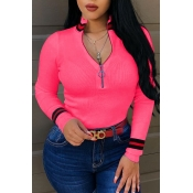 Lovely Casual Bust Zippers Rose Red Sweaters