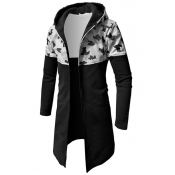 Lovely Casual Printed Zippered Black Cotton Hoodie