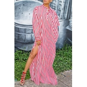 Lovely Street Style Striped Red Cotton Blends Floo