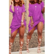 Lovely Casual Knot Design Light Purple Blending Knee Length Dress