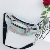 Lovely Fashion Zipper Design Silver Patent Leather