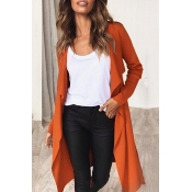 Lovely  Casual Asymmetrical Orange Cotton Trench C