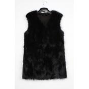 Lovely Casual V Neck Black Faux Fur Vests