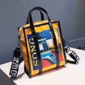 Lovely Fashion  Printed Yellow Patent Leather Shou