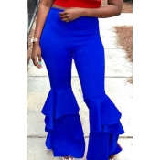 Lovely Trendy Flared Legs Loose Blue Twilled Satin Pants