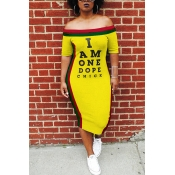 Lovely Euramerican Letters Printed Patchwork Yellow Knee Length Dress