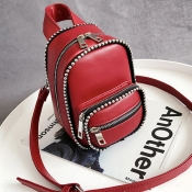 Lovely Fashion Rivet Decorative Red Patent Leather