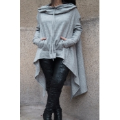 Lovely  Casual Asymmetrical Drawstring Long Light Grey Cotton Hoodies