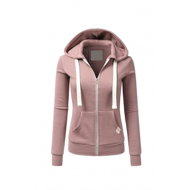 Lovely Casual Zipper Design Pink Hoodies