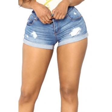Lovely Casual Broken Holes Light Blue Denim Shorts