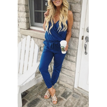 Lovely Casual V Neck Royalblue Cotton Blends One-piece Jumpsuits