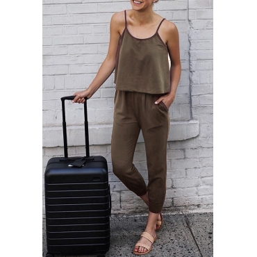 Lovely Casual Layered Coffee Qmilch One-piece Jumpsuit