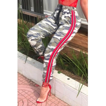 Lovely  Casual Camouflage Printed Twilled Satin Pants