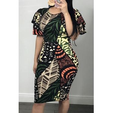 Lovely Euramerican  Flounces Design Multicolor  Blending Knee Length Dress