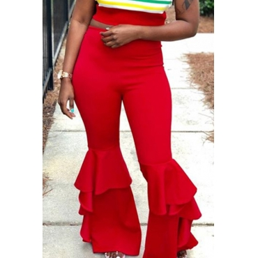 Lovely Trendy Flared Legs Loose Red Twilled Satin Pants
