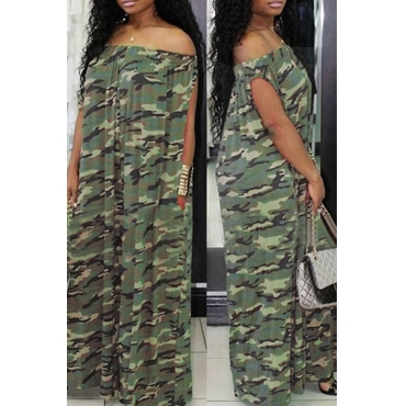 Lovely Euramerican  Dew Shoulder  Loose Army Green  One-piece Jumpsuit