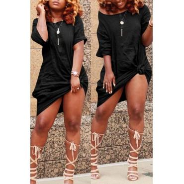 Lovely Casual Knot Design Black Blending Knee Length Dress