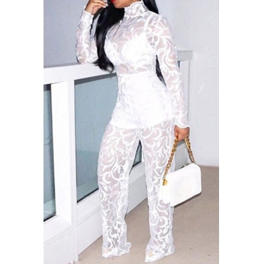 Lovely Fashion See-through White Lace One-piece Jumpsuit