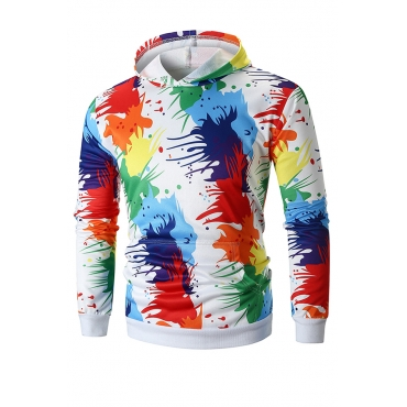 Lovely Street Style Printed Multicolor  Hoodies(Batch Print)