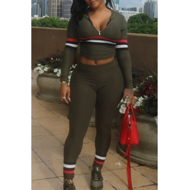 Lovely Casual Patchwork Army Green Twilled Satin  Two-piece Pants Set