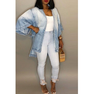 Lovely Casual Long Sleeves Loose Light Blue Denim Coat