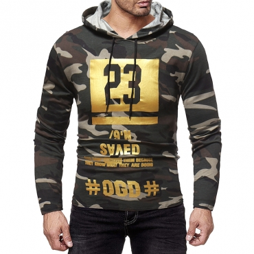 Lovely Euramerican Letters Printed Army Green Cotton  Autumn Hoodies