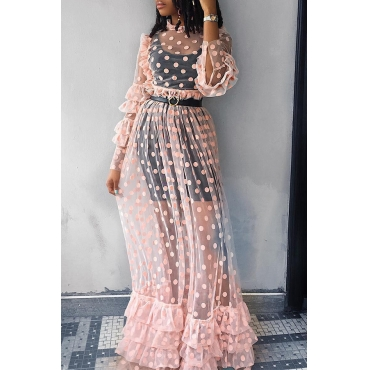 Lovely  Casual Dots Printed Pink Gauze Floor Length Dress(Without Subcoating And Belt)