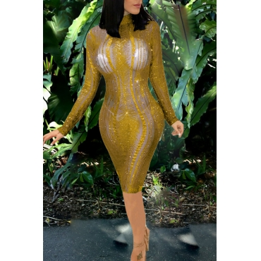Lovely Sexy Long Sleeves See-through Golden Knee Length Dress(Without Underclothes )
