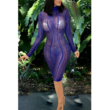 Lovely Sexy Long Sleeves See-through Blue Knee Len