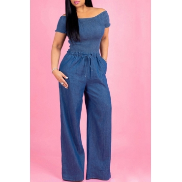 Lovely Casual Patchwork Loose Blue Denim One-piece Jumpsuit