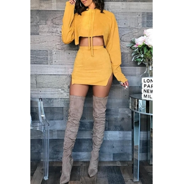 Lovely Casual Hooded Collar Slit Yellow Two-piece Skirt Set
