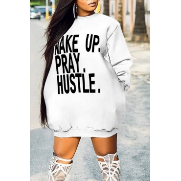Lovely Casual Long Sleeves Letters Printed White Mini Dress
