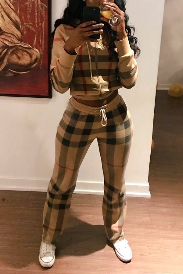 Lovely Fashion Hooded Collar  Grids Printed   Multicolor Cotton Blends Two-piece Pants Set