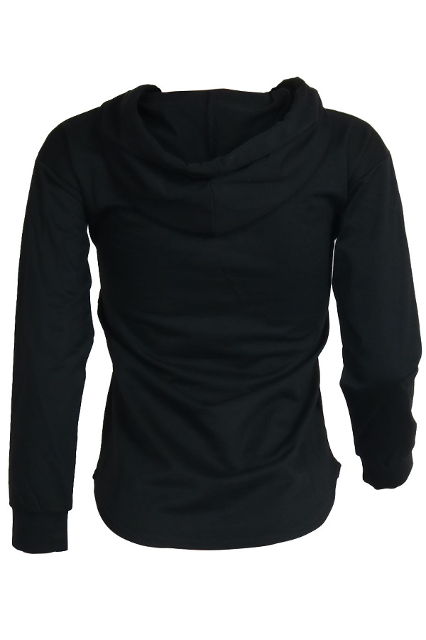 Lovely  Casual Hooded Collar Black Hoodies