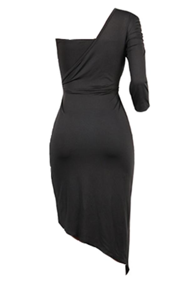 Lovely Vogue Sloping Shoulder Asymmetrical Black Knee Length Dress