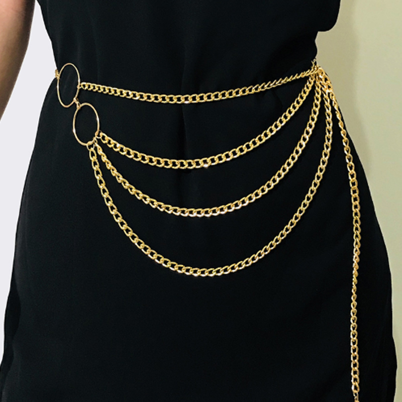Lovely Vogue Layered Gold Metal Body Chain