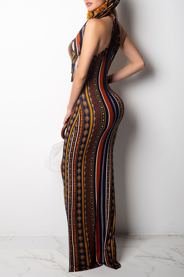 Lovely Bohemian Printed Slim Multicolor Floor Length Dress