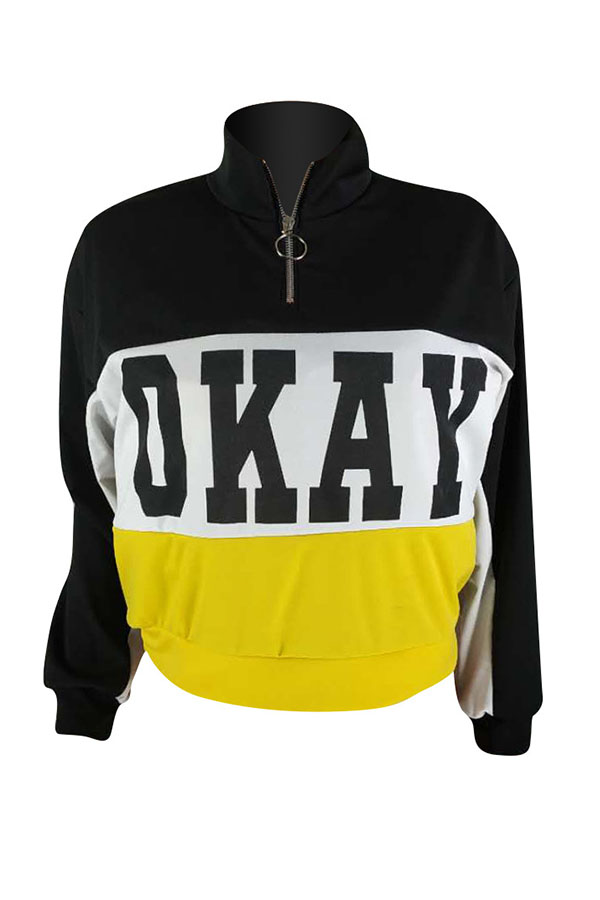 Lovely Casual Patchwork Black Hoodies